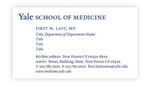 yale business card business cards office of communications yale school of medicine