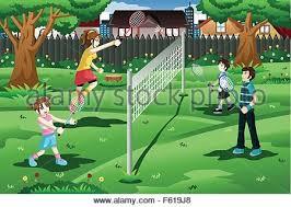 Backyard Cartoon Boy Playing Badminton Cartoon Illustration Stock Vector Art