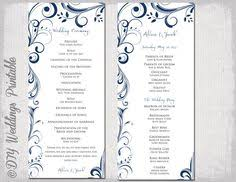 order of wedding program wedding program template navy blue instant scroll