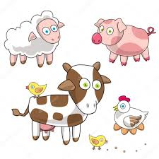 funny farm cartoon pig lamb cow hen and eggs sheep chicken