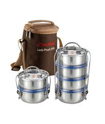 neelam stainless steel 4 containers tiffin set buy 1 get 1 buy