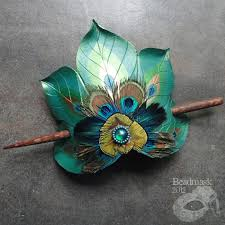 peacock feather fan peacock feather fan hair slide by beadmask on deviantart