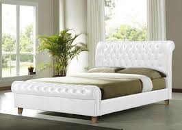White King Size Bed Frame Time Living Richmond 6ft Kingsize White Pu Leather Bed Frame