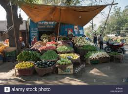 Market Stall Canopy by Amritsar Punjab India A Roadside Market Stall Selling Fruit And