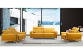 Yellow Leather Sofa Everett Modern Style Yellow Leather Sofa