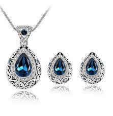 blue crystal necklace set images Swarovski crystals dark blue drop pendant set eonshoppee jpg