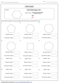 Finding Interior Angles Of A Polygon Worksheet Interior And Exterior Angles Of Polygons Worksheet Free Worksheets