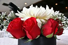 wedding centerpiece black red and white the wedding