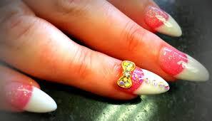 nail art pink and white nails acrylic nail design art