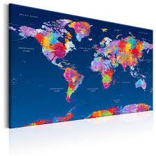 Cork World Map by Canvas Wall Art World Map Artistic Fantasy Cork Map World