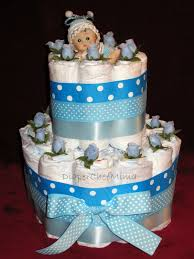 baby shower cake table decorations 3 tier boys diaper cake front