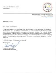branford high school thanksgiving letter to parents