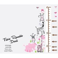 Jungle Wall Decals Pink U0026 Gray Safari Nursery Wall Decals With Wall Growth Charts For