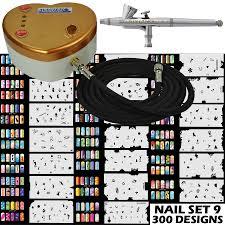 g34 airbrush heart compressor set 9 nail art stencils kit