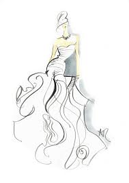 drawn gown fashion illustration pencil and in color drawn gown