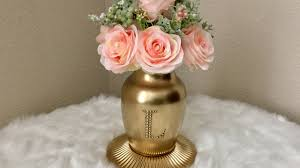 Vases At Michaels Gold Monogrammed Vase With Scented Artificial Flowers Dollar Tree