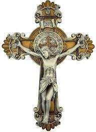 amazon com saint benedict wall cross crucifix with antique silver