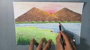 how to draw a mountain landscape for kids easy youtube