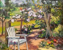 garden corner landscape california impressionism oil painting