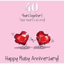 what is 40th wedding anniversary 40th wedding ruby anniversary card