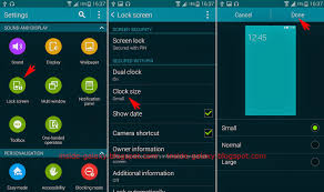 samsung galaxy s5 how to change the clock size on lock screen in
