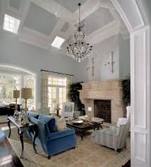 light blue ceiling living room traditional with arch traditional