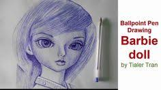 ballpoint drawing tutorial draw barbie doll