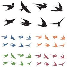 8 swallow silhouettes with 5 color options small birds bird