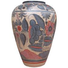 Mexican Vase Very Large Mexican Tonala Vessel Vase At 1stdibs