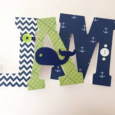 Letter Decorations For Nursery Custom Decorated Wooden Letters Whale Nursery Nautical Nursery