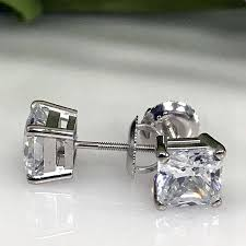 moissanite earrings moissanite earrings 0 50carat 5mm diamond stud earrings 14k white