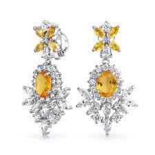 clip on dangle earrings vintage style yellow citrine color cz clip on chandelier earrings