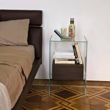 Oak And Glass Side Table Contemporary Bedside Table Oak Walnut Lacquered Wood Kit