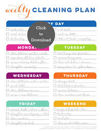 cleaning ideas weekly cleaning schedule printable today s creative life