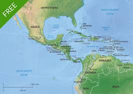 Physical Map Of Central America by Map Of Central America And The Caribbean Of Middle