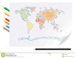 World Map To Color by Drawing World Map By A Color Pencils Stock Photography Image