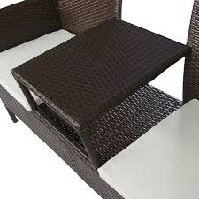 vidaxl brown poly rattan two seater bench with tea table vidaxl com