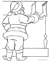 santa filling christmas stockings coloring pages