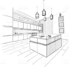 interior sketch of modern kitchen with island stock vector art