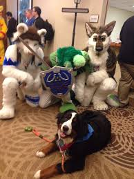 woman brings therapy dog to furry convention