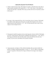 Quadratic Word Problems Worksheet With Answers Quadratic Equation Word Problems