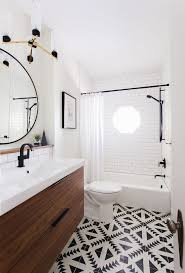 small bathroom design patterned floor vanity black detail