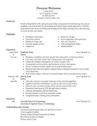 Examples Of Cosmetology Resumes by Hair Salon Resume Sample Contegri Com