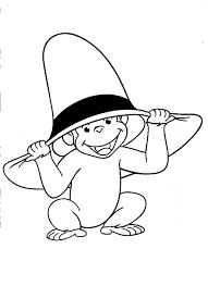 curious george wearing yellow hat coloring pages curious