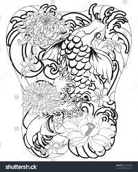 hand drawn koi fish peony flower stock vector 673347400 shutterstock