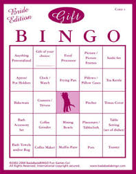 bridal shower gift bingo you could create a bingo card your self on the computer or