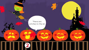 cartoon halloween picture five little pumpkins sitting on a gate halloween songs for kids