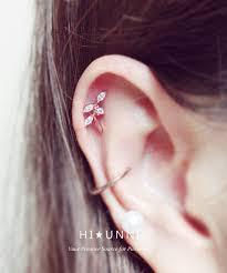 gold cartilage earrings gold cartilage earring 16g leaf cartilage earring cz stud