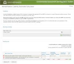 Area Calculater by Environment Division Online Help Rehabilitation Liability
