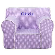 personalized kids lounge chair lavender dots white piping in 2 sizes